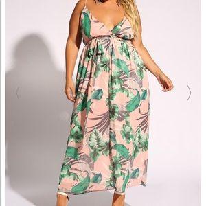 Pink leaf print dress